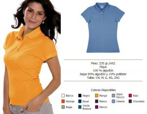 PLAYERA TIPO POLO PIQUE COLORES DE DAMA Y CABALLERO
